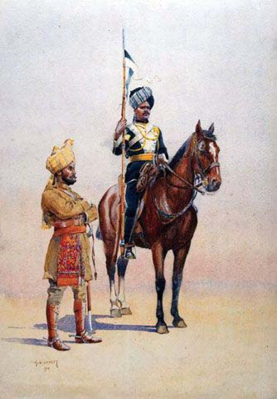 A painting of a Mysore Lancer on his horse flanked by an infantryman.