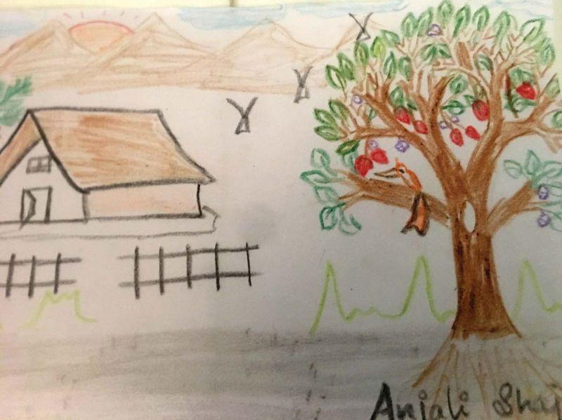 An art work by a kid in a camp