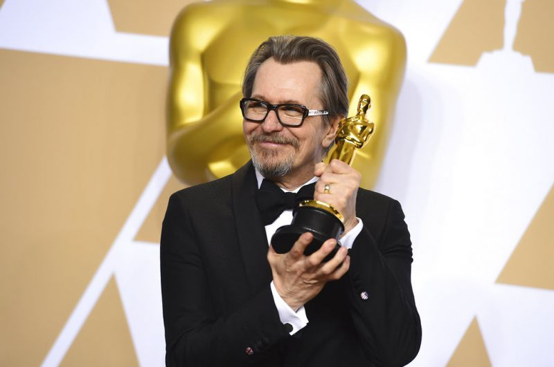 Gary Oldman, winner of the award for best performance by an actor in a leading role for Darkest Hour.