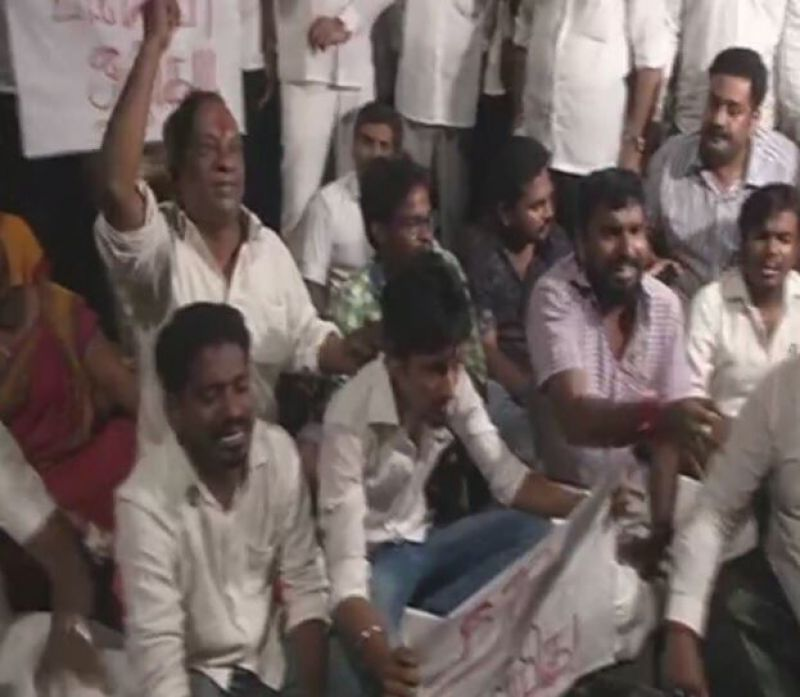 Protests at Poes Garden. (Photo: Twitter   ANI)