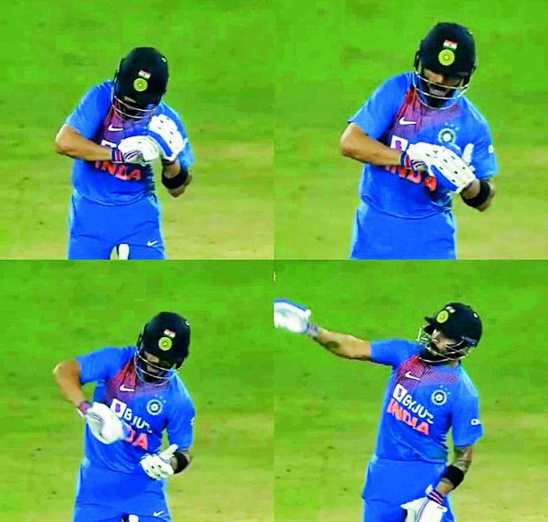"Virat Kohli hits Kesrick Williams for a maximum and then imitated the bowler's famous notebook celebration to ""tick"" Kesrick's name off."