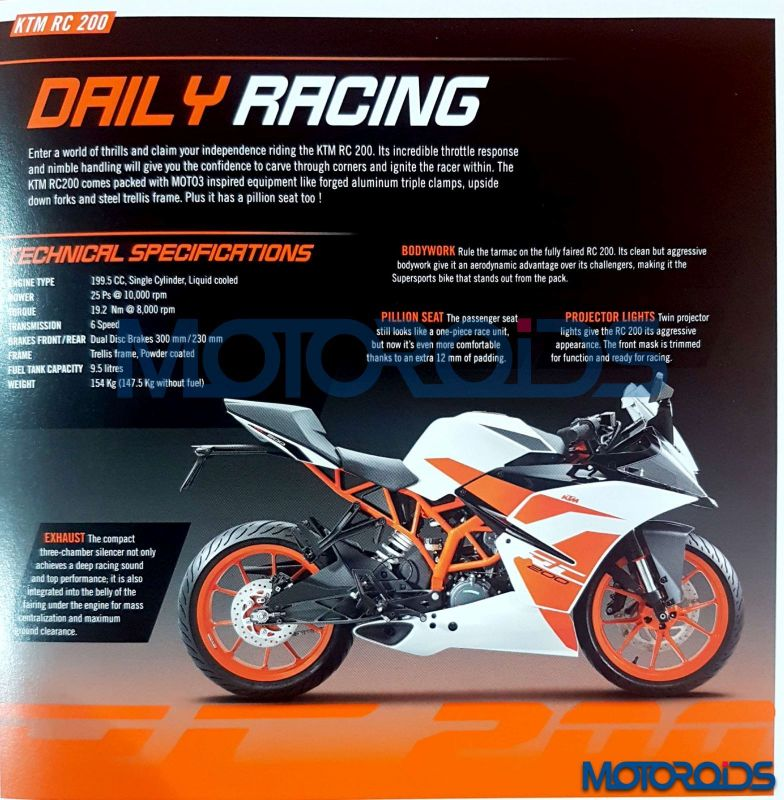 2017 KTM RC 390 and RC 200 brochure leaked