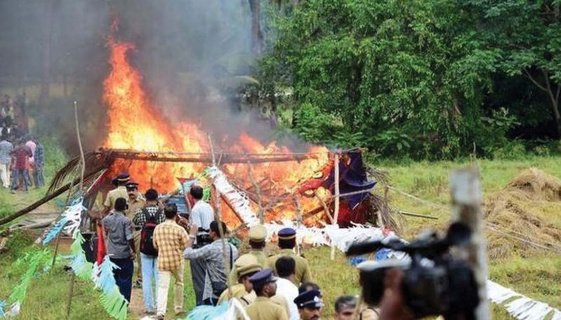 Shed gutted in fire. It was alleged that CPM members set fire to the shed.