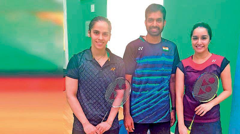 Shraddha Kapoor (right) with coach Pullela Gopichand and Saina Nehwal.