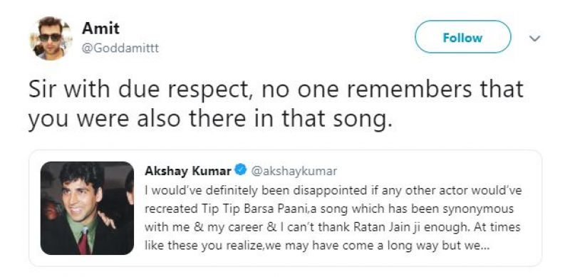Replies on Akshay Kumar's tweet on Tip Tip Barsa Paani. (Photo:ANI)