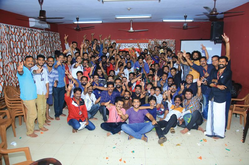 The crew of the film Pullu in  a cheerful mood.