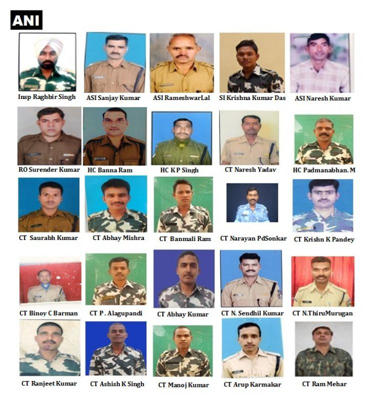 Names and pictures of the martryed CRPF jawans. (Photo: ANI Twitter)