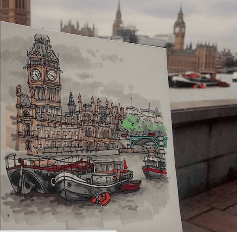 The Palace of Westminster on the Thames, 2016  Pen and Promarker drawing. A cloudy grey day in old London town. I took a seat on a bench opposite Parliament house and drew the rusty old boats, mored on  the Thames.  Home of the two houses of the United Kingdom's Parliament. The Palace of Westminster was built in 1840, replacing the original medieval complex that had burnt down in 1834. (Illustration by Maxwell Tilse)