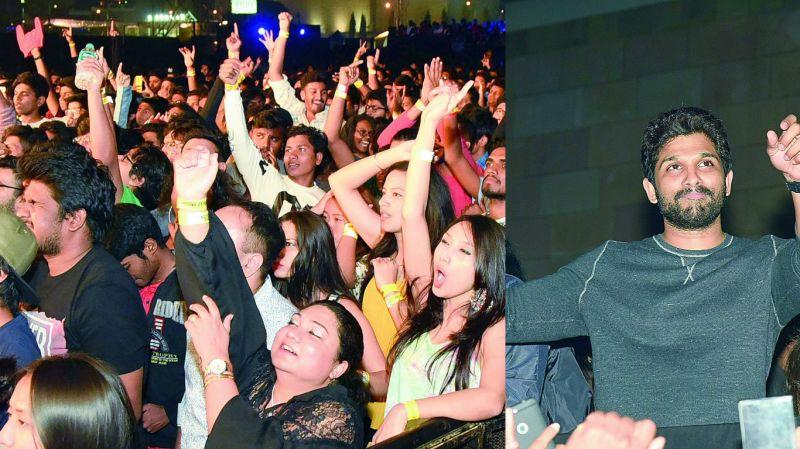 The crowd was seen having a great night. (Right) Allu Arjun