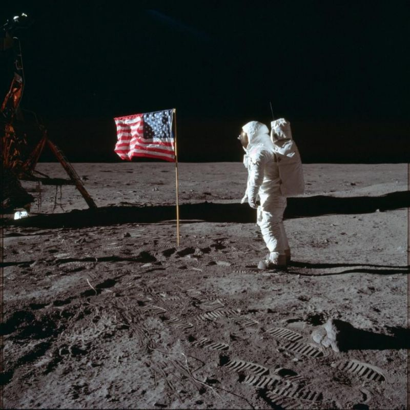 Buzz Aldrin Jr. poses for a photograph beside the US flag on the moon during the Apollo 11 mission.  (Photo: NASA | AP)