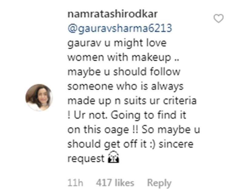 Comment over Namrata Shirodkar's post. (Photo: Instagram)