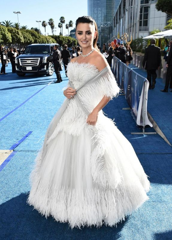Penelope Cruz rocked a feathered gown (Photo: AP)