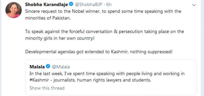 The Karnataka BJP MLA on Sunday took to Twitter and replied to the nobel laureate's view on scrapping of Article 370. (Photo: Twitter | @ShobhaBJP)