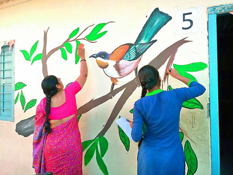 A mural creating awareness about decline in bird count