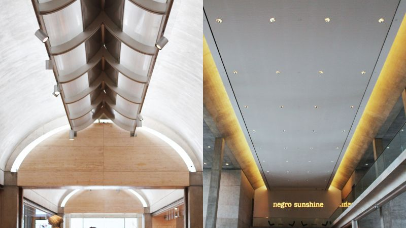 The elegant ceiling aesthetics of Kahn (left) and Ando at the Kimbell and the Modern Art museums at Fort Worth respectively. (Photo: Amit Khanna)