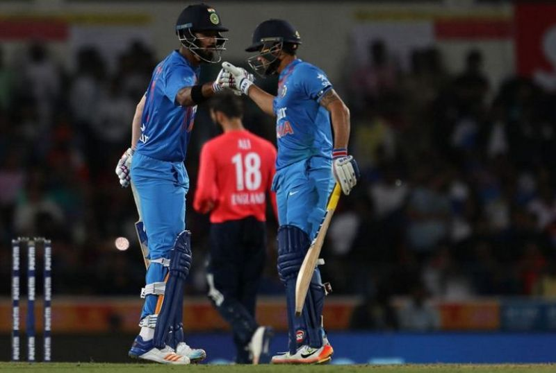 KL Rahul and Manish Pandey's 56-run 4th wicket stand was the highest partnership by India in the England T20s. (Photo: BCCI)