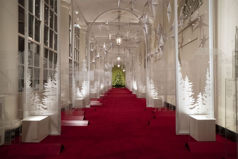 The East Colonnade is decorated with a timeline of American design, innovation and architecture during the 2019 Christmas preview at the White House in Washington. (Photo: AP)