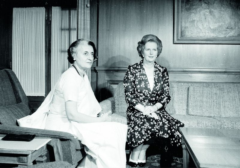 Prime Ministers Indira Gandhi and Margaret Thatcher in the former's Delhi office. The two shared a strong mutual admiration and were both known by the moniker of 'Iron Lady.