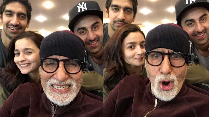 Big B with Ranbir, Alia and Ayan on 'Brahmastra' sets.