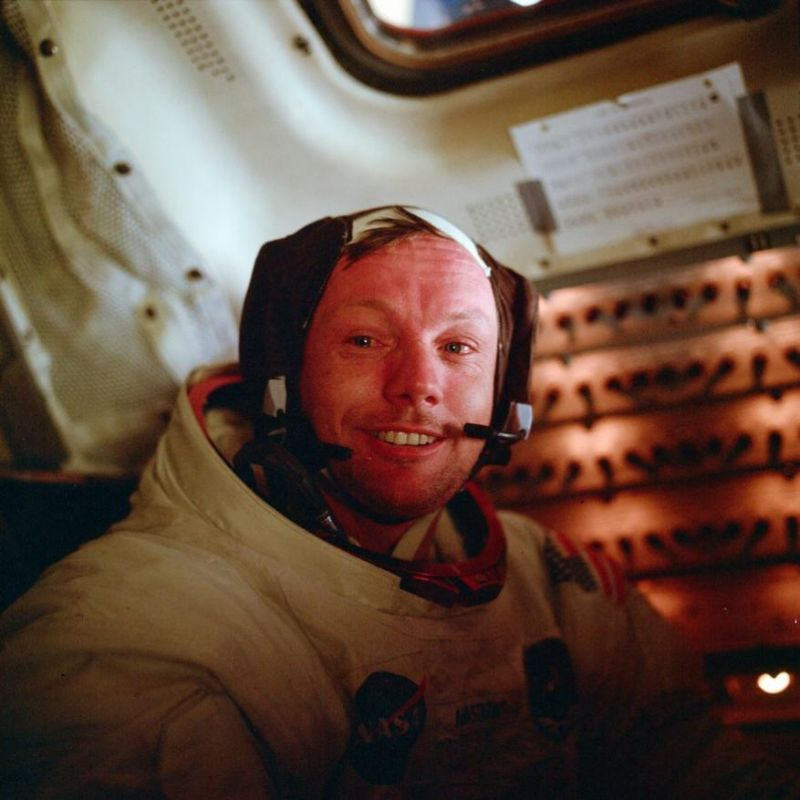 Neil Armstrong, Apollo 11 commander, sits inside the Lunar Module after he and Buzz Aldrin completed their extravehicular activity on the surface of the moon. (Photo: NASA | AP)