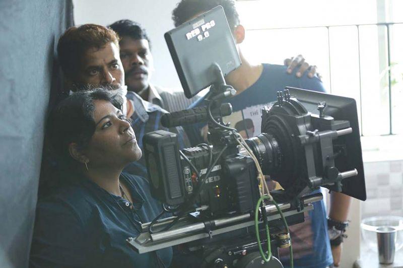 Uma at work, for an earlier film