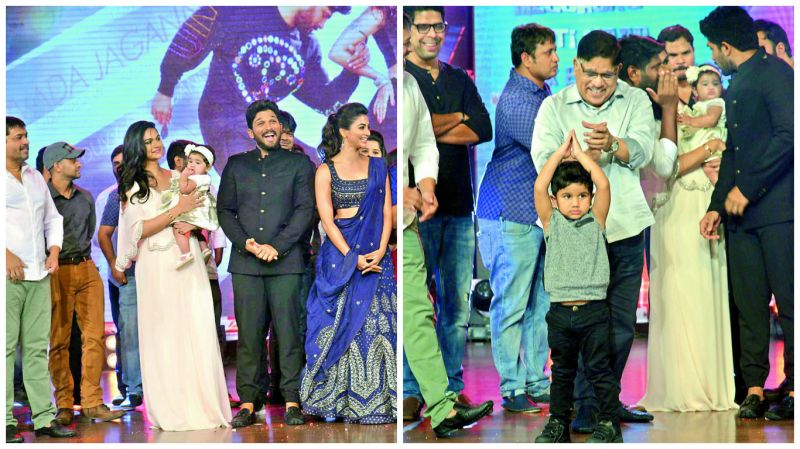 Sneha Reddy with daughter and  Allu Ayaan and Aravind