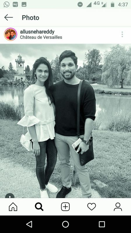 """Sneha Reddy uploaded a picture with the caption   #Chateau de #versailles (sic)"""""""