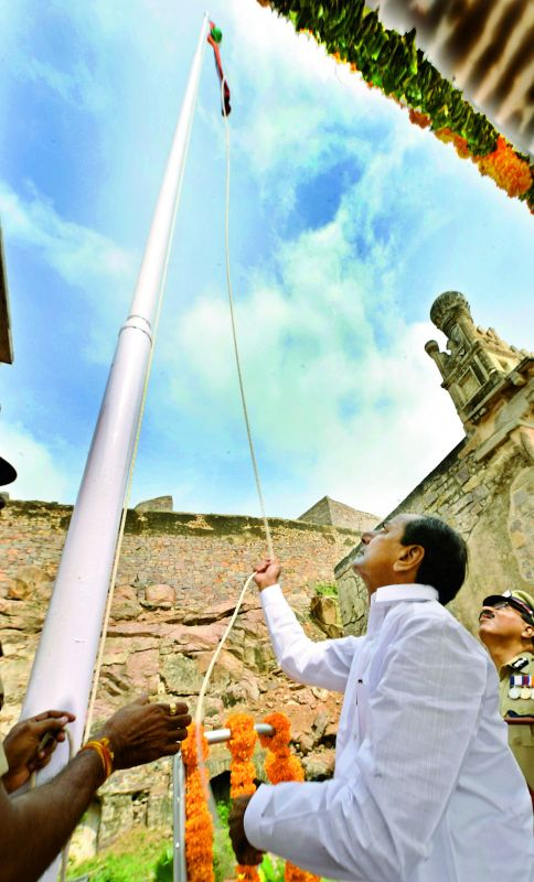 Chief Minister K. Chandrasekhar Rao hoists the national flag at Golconda Fort in Hyderabad on Thursday.  (DC)