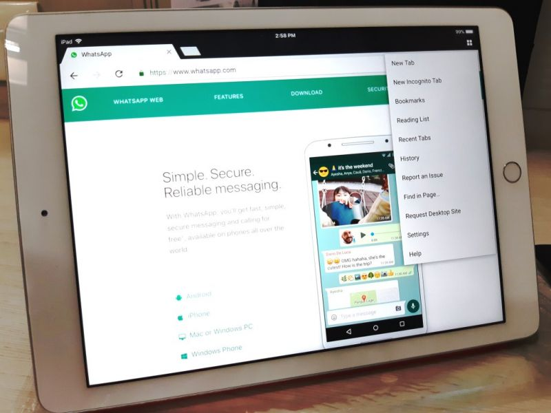 WhatsApp on tablets