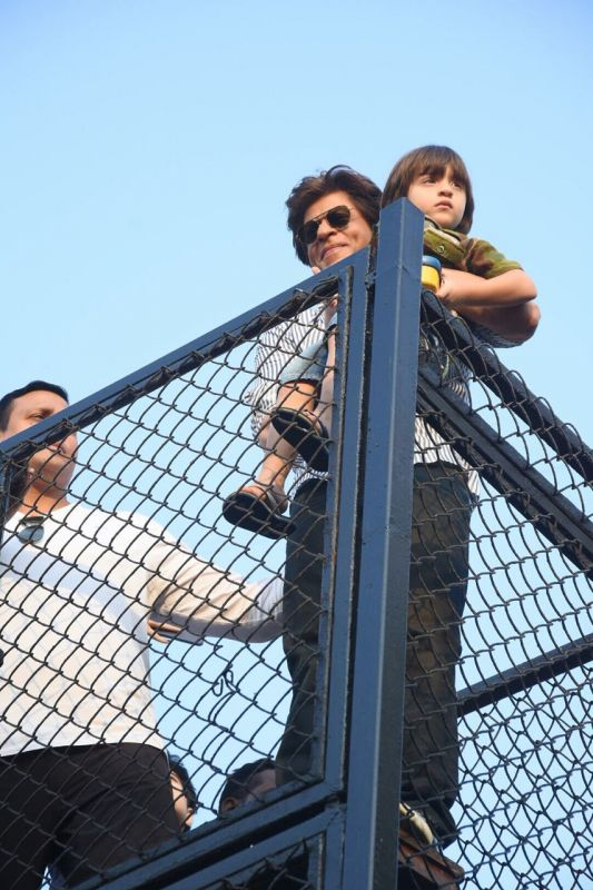 Shah Rukh Khan poses with his youngest kid AbRam.
