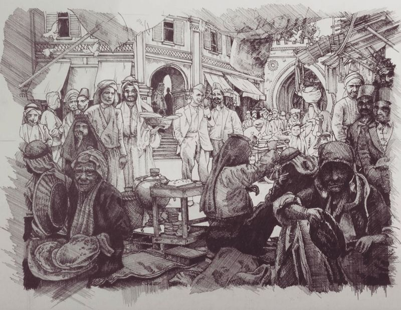 Baghdad Market, 2016  Inspired by some remarkable old photos from Iraq & Syria from the 1930s and 40s. (Illustration by Maxwell Tilse)