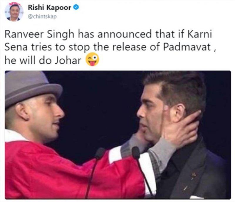 Rishi Kapoor takes dig at Karni Sena with Ranveer, Johar pun, deletes tweet after getting trolled