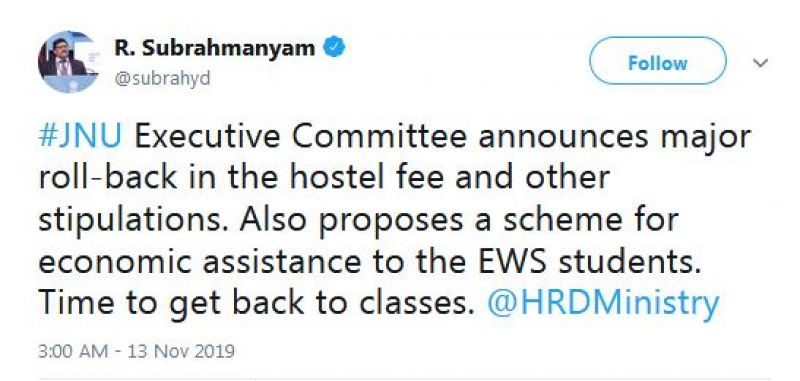 HRD minister R. Subrahmanyam in a tweet asked the agitating students to get back to classes. (Photo: Twitter)