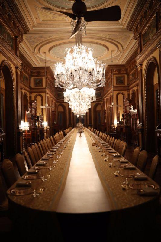 Dinner venue for Global Entrepreneurship Summit guests at Falaknuma Palace, Hyderabad. ( Photo: @TajFalaknuma)