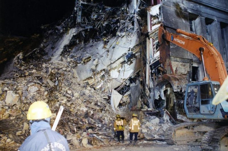 The devastated exterior of the Pentagon after the 9/11 terror attack. (Photo: FBI)