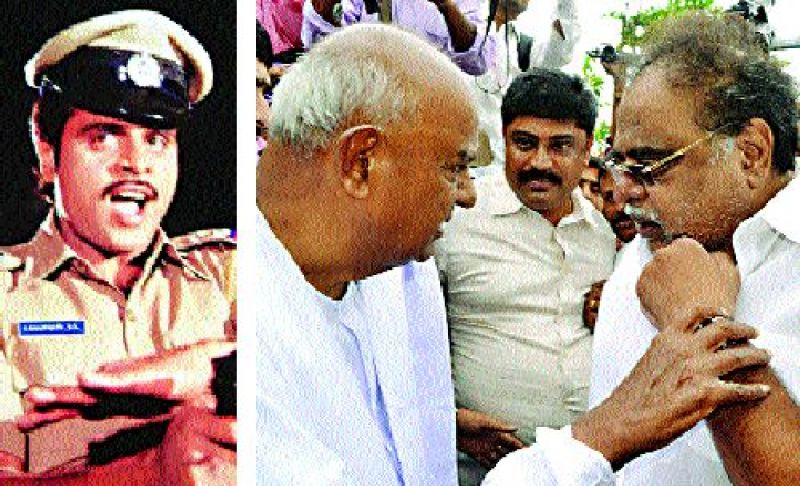 (Left) A still from one of the actor's movies. (Above) With JD(S) supremo H.D. Deve Gowda