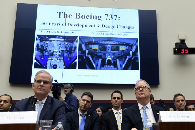 Daniel Elwell, front left, acting administrator of the Federal Aviation Administration, and Robert L. Sumwalt, front right, chairman of the National Transportation Safety Board, testify before a House Transportation Committee hearing on Capitol Hill in Washington, Wednesday, May 15, 2019, on the status of the Boeing 737 MAX aircraft. (AP Photo)