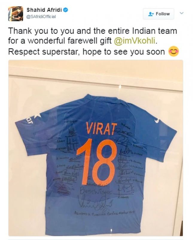 Shahid Afridi, Virat Kohli, Team India jersey, Twitter