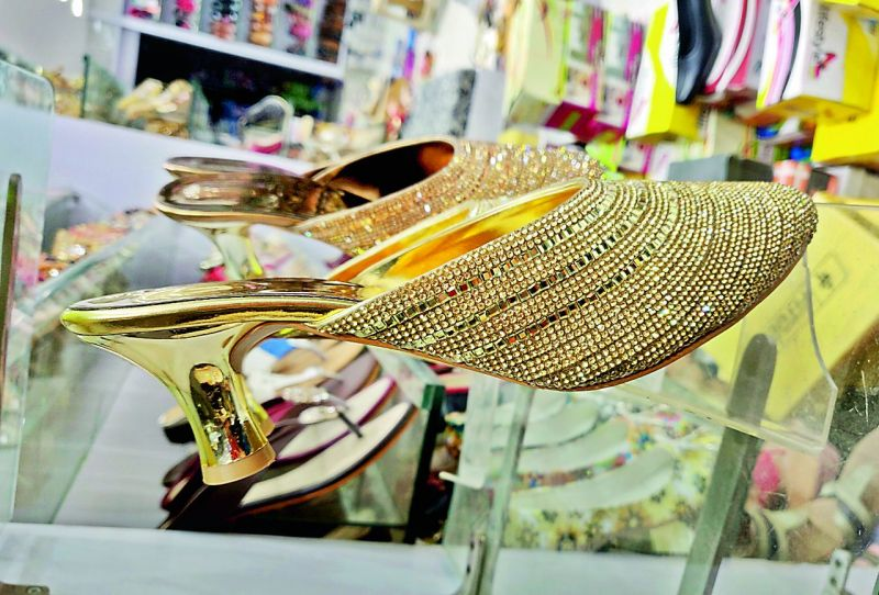 Bejwelled shoes in local  markets
