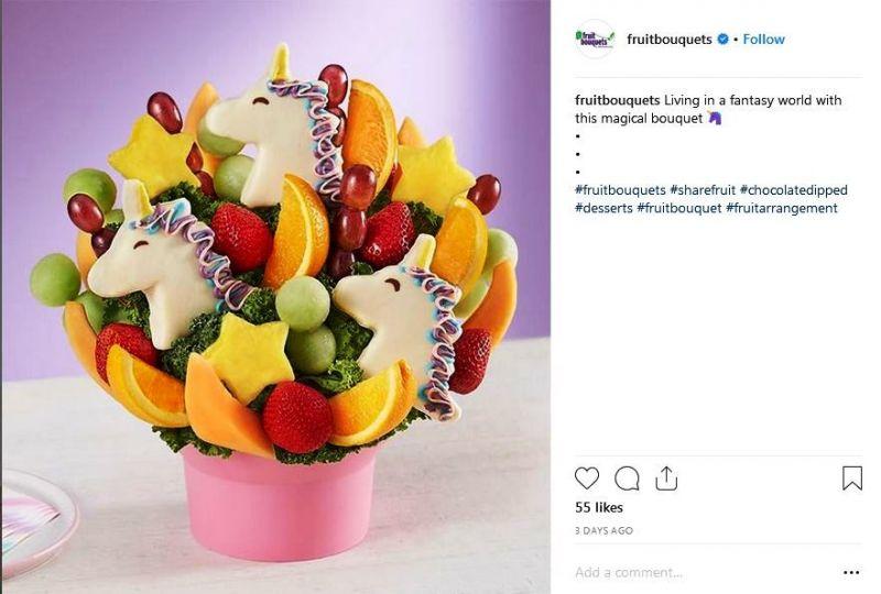 Unique with unicorn fruit bouquet (Photo: https://www.instagram.com/explore/tags/fruitbouquets/)