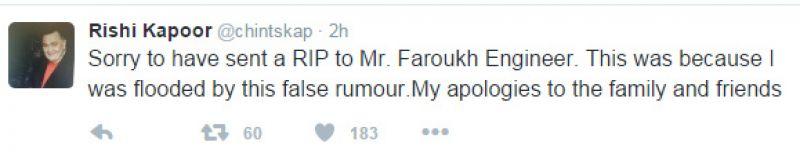 Rishi Kapoor Farokh Engineer tweet