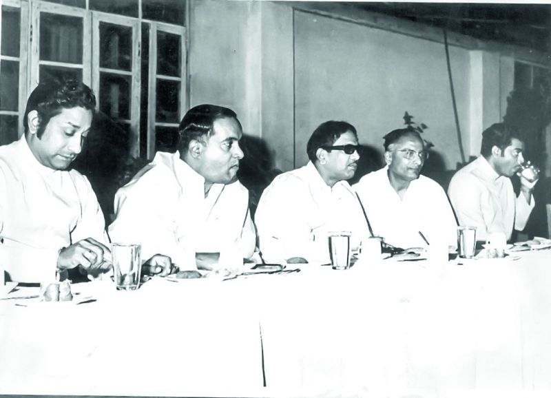 Karunanidhi with Sivaji Ganesan, B. Nagi Reddy and D. Ramanaidu