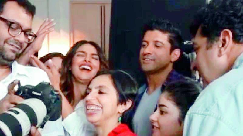 Priyanka Chopra Farhan Akhtar Zaira Wasim and Siddharth Roy Kapur in a screengrab of the video posted on Instagram