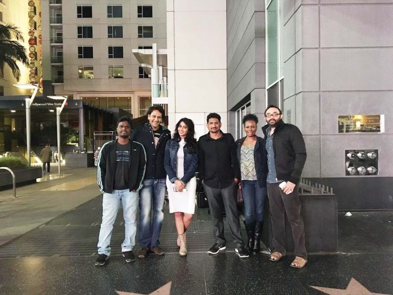 Gayathri on the location of her Hollywood movies