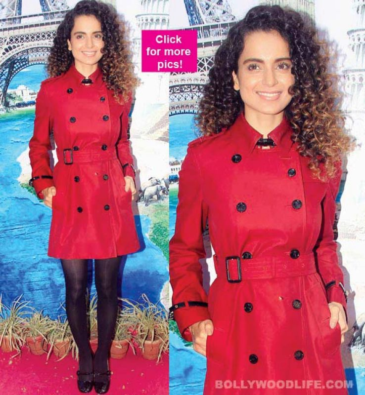 Kangana keeps it simple with a red trench coat paired with black leggings.