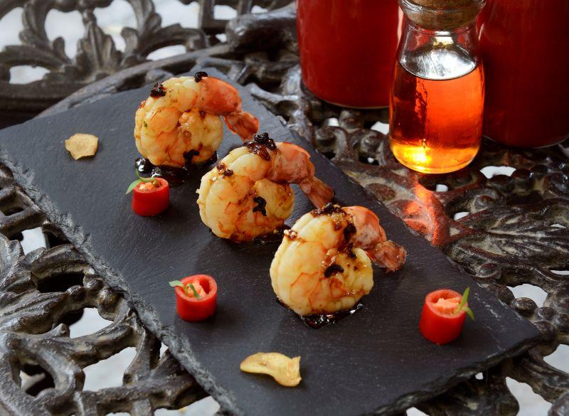 Schezwan Pepper and Maple Glazed Prawns