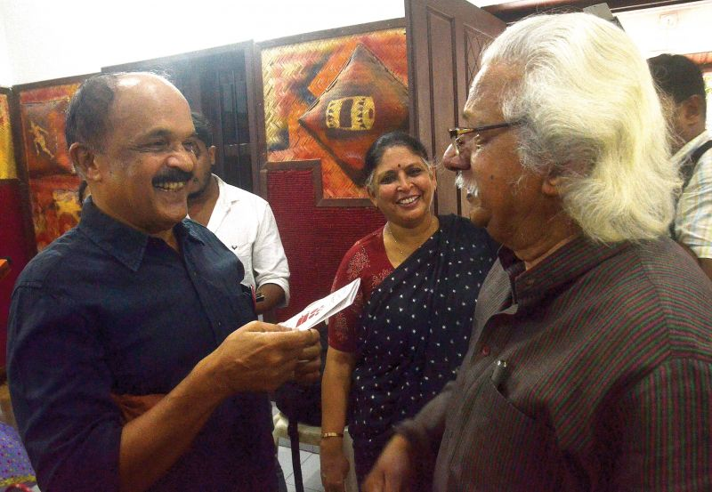 Writer Zacharia, Beena Paul and Adoor Gopalakrishnan during an interaction programme by Women in Cinema collective in Thiruvananthapuram on Monday. (Photo: DC)