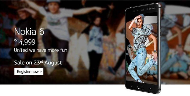 Screengrab of Nokai 6 registration teaser on Amazon India