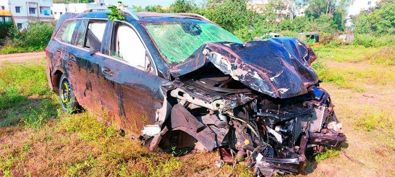 Rajasekhar's mangled car after the accident