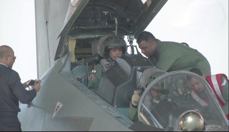 Defence Minister Nirmala Sitharaman sat in the rear seat behind the pilot. (Photo: ANI)